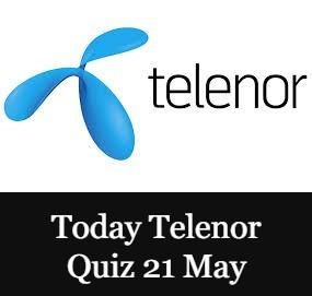 Telenor Quiz Today 21 May