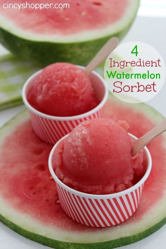 If you are looking for a refreshing dessert for this summer this Easy 4 Ingredient Watermelon Sorbet recipe is the answer. My hubby and I have been attempting to eat a bit better of a diet this past few weeks. He is one who is not a huge fan of fruit. I am slowly breaking him. He has a recent obsession with Watermelon (he loves my Watermelon Salsa I shared) so this Easy 4 Ingredient sorbet was the ticket. He will now be eating Watermelon sorbet on a regular basis. He says it is his new favorite summer treat. So I am really making progress, ha ha.