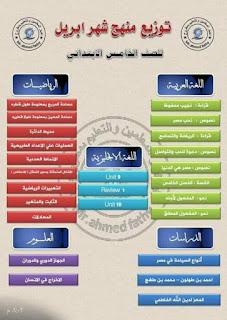 جدول توزيع مقرر شهر أبريل للصف الخامس الابتدائي الترم الثاني جميع المواد.