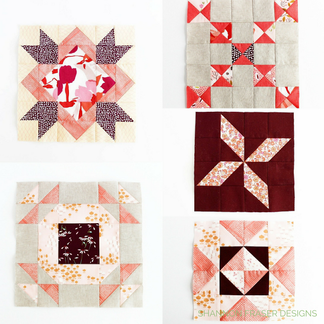 Sewcial Bee Sampler Row 2 | Shannon Fraser Designs | Working my stash off | Modern Quilting | Coral Pink and Burgundy | Sew A Long | Quilting Community