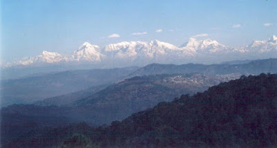 Snow clad peaks from Peora in Uttarakhand