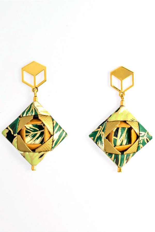 green and gold patterned paper origami earrings with gold findings