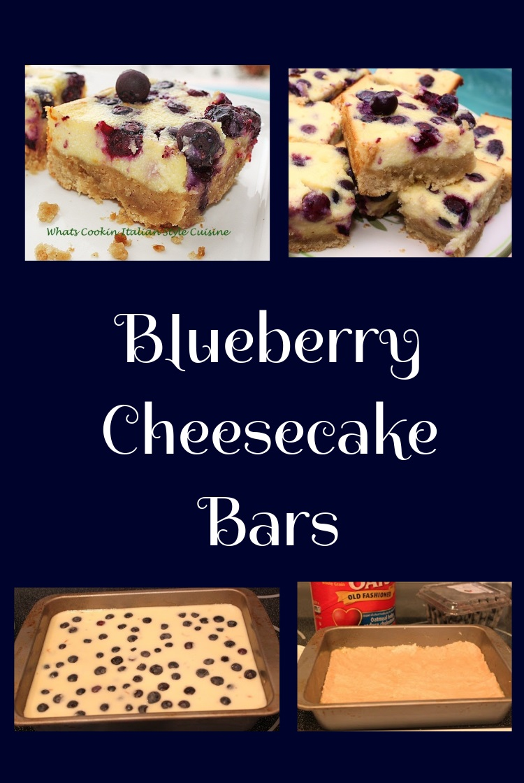 this is a collage of blueberry cheesecake squares. They are in a rectangular pan, made with an oatmeal crust. The cheesecake filling is very easy, is quick and easy baked cheesecake and blueberries are through out the entire batter.