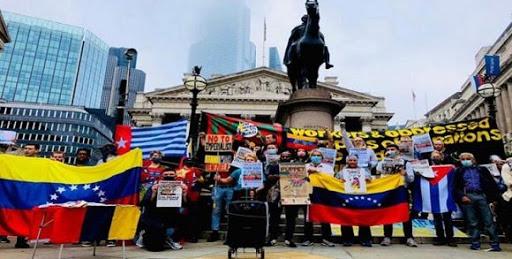 Protestas frente al banco de Inglaterra en Londres por retención de oro Venezolano