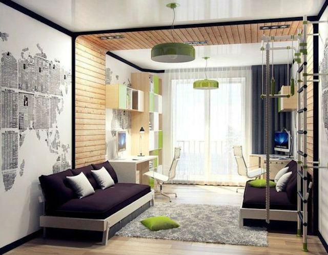 Trucos para decorar dormitorios de adolescentes, dormitorio con vinilo mapamundi doble