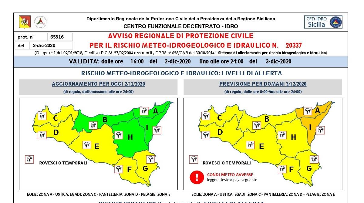 Allerta meteo arancione nella zona orientale della Sicilia