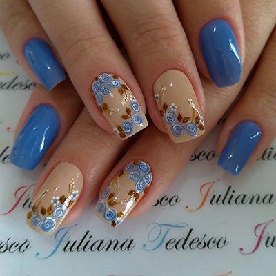unhas decoradas azuis 3