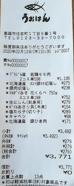うおはん 恵庭 2020/2/13 のレシート
