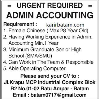 Lowongan Kerja Admin Accounting Lulusan SMA/SMU