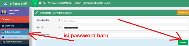 gambar cara ganti password admin e-rapor smp