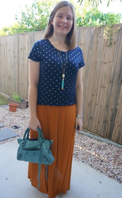 navy foil polka dot tee with ochre maxi skirt turquoise Balenciaga first bag | awayfromblue
