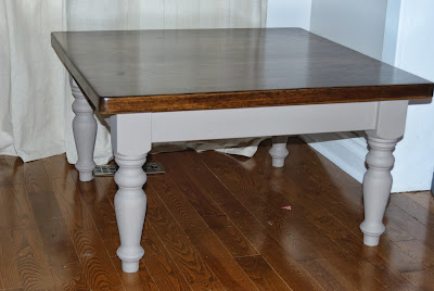 Coffee Table Stained Top With White Chalk Finish Paint