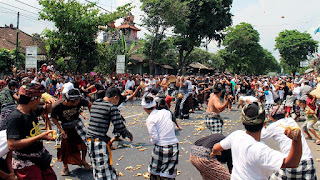 Tipat Bantal War Tradition in the Boat Village, Bali