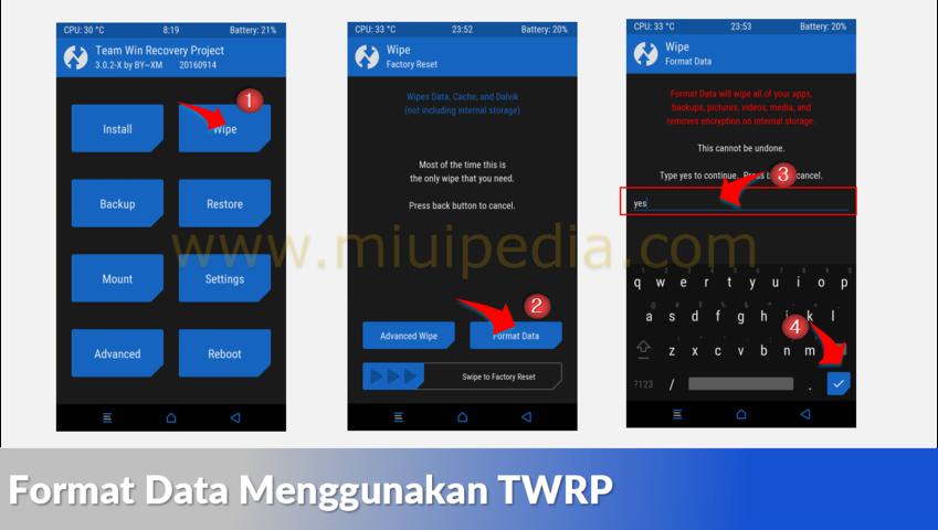 Format Data Menggunakan TWRP