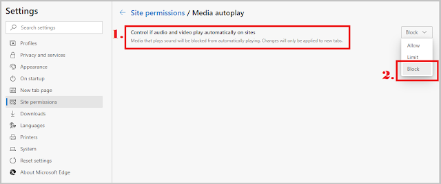 Disable Media Autoplay in edge browser.
