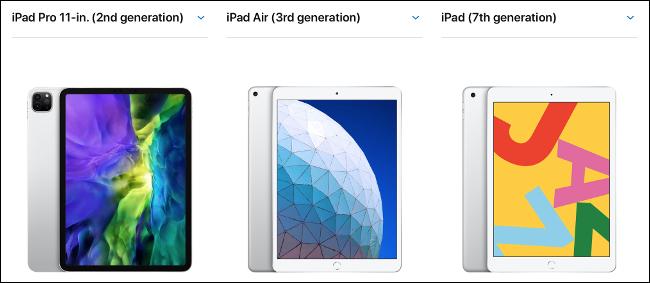 مقارنة بين iPad و iPad Air و iPad Pro مقاس 11 بوصة جنبًا إلى جنب.