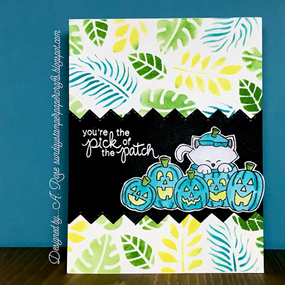 You're the pick of the patch by A. Rose features Newton's Boo-tiful Night and Tropical Leaves by Newton's Nook Designs; #inkypaws, #newtonsnook, #halloweencards, #catcards, #cardmaking