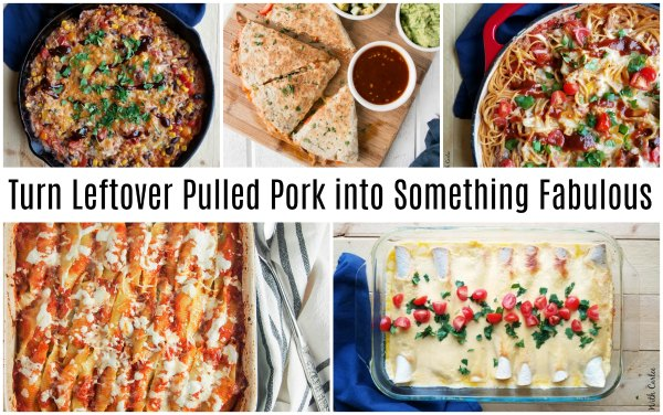 collage of recipes using leftover pulled pork