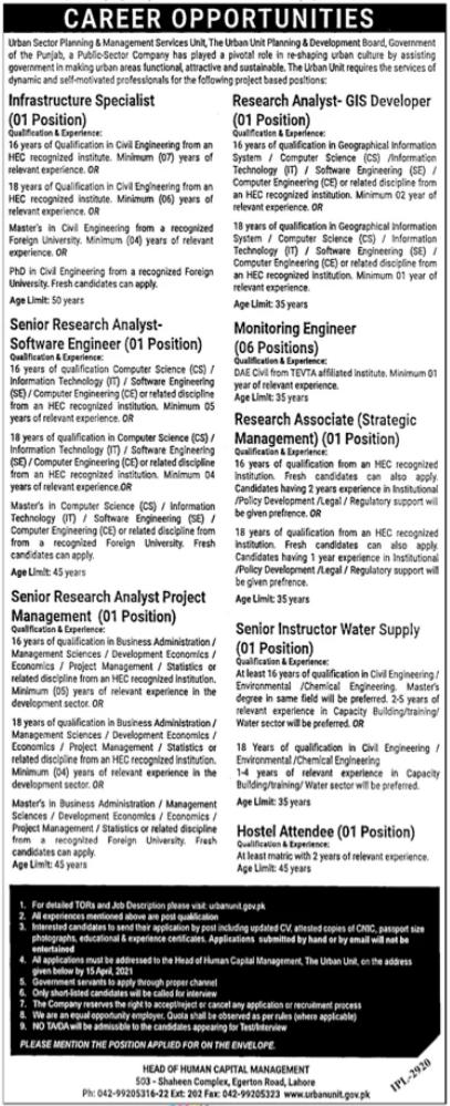 The Urban Unit Lahore Jobs 2021