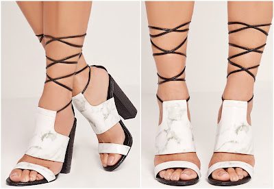 Missguided Twist Strap Marble Block Heeled Sandals