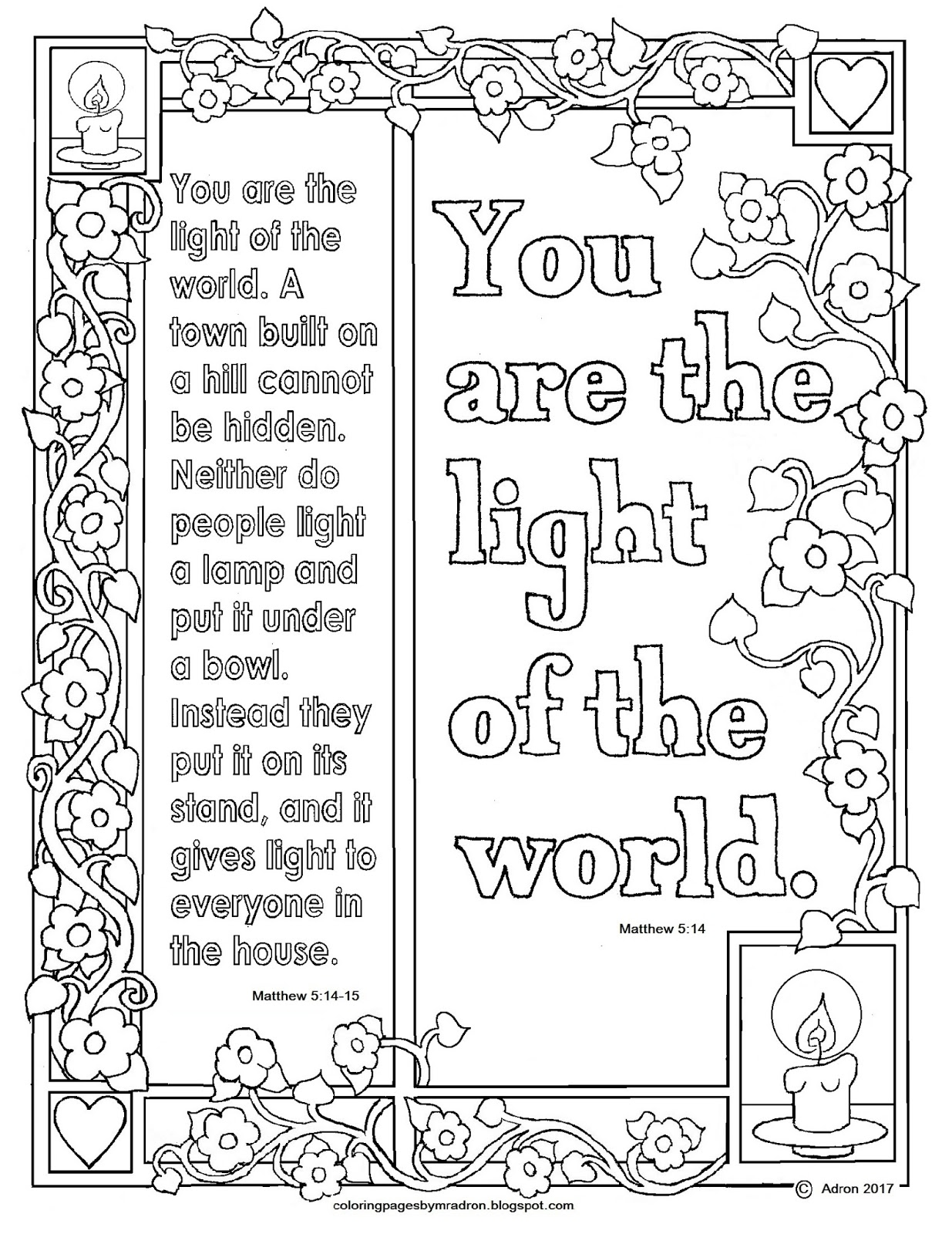 Matthew 514 15 Print And Color Page You Are The Light Of World