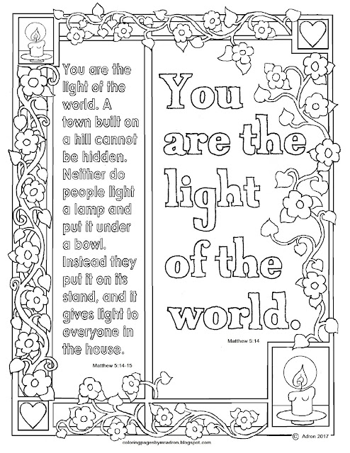 Coloring pages for kids by mr adron matthew 5 14 15 for Light of the world coloring pages