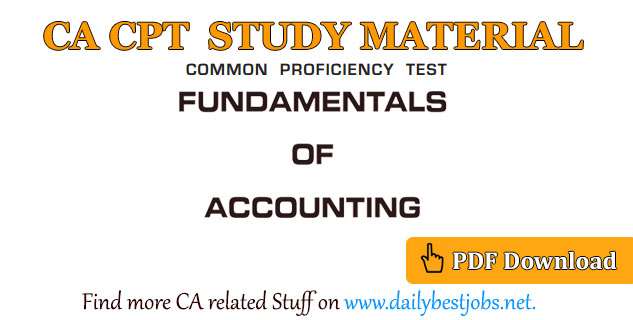 CA CPT Study Material Fundamentals Accounting PDF Download
