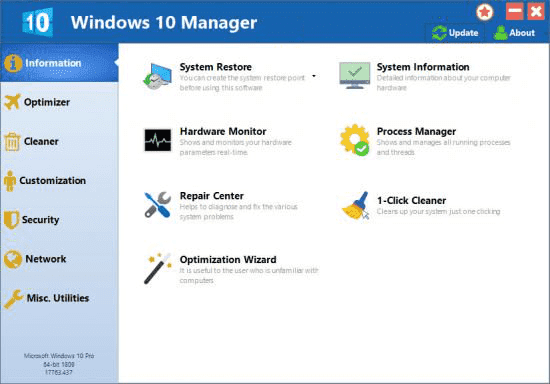 Screenshot Windows 10 Manager 3.2.2 Full Version