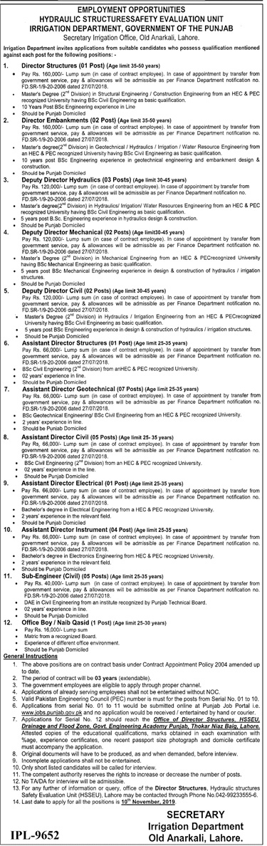 Jobs in Irrigation Department Govt of Punjab