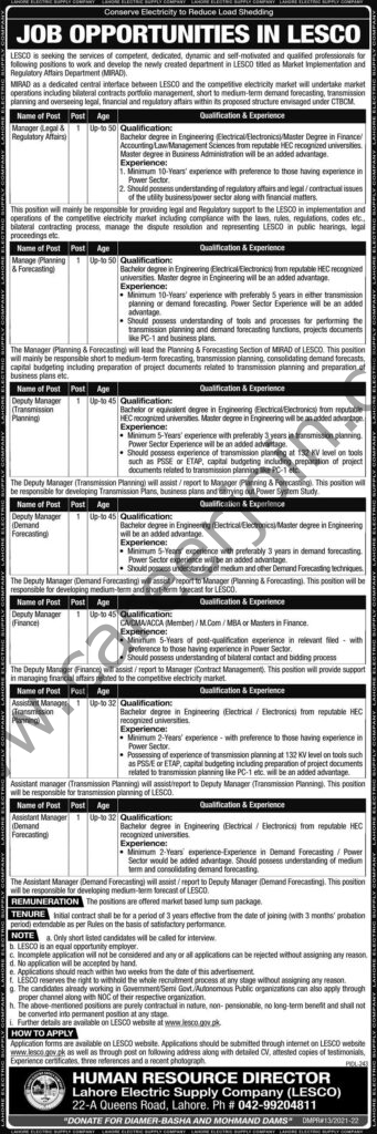 Lahore Electric Supply Company LESCO Jobs August 2021
