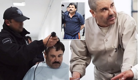 Drug lord El Chapo has hair shaved off and gives job as 'farmer' in rare jail footage