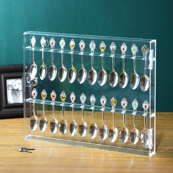 Premium Acrylic Souvenir Spoon Display Case from Nile Corp showcasing 24 spoons