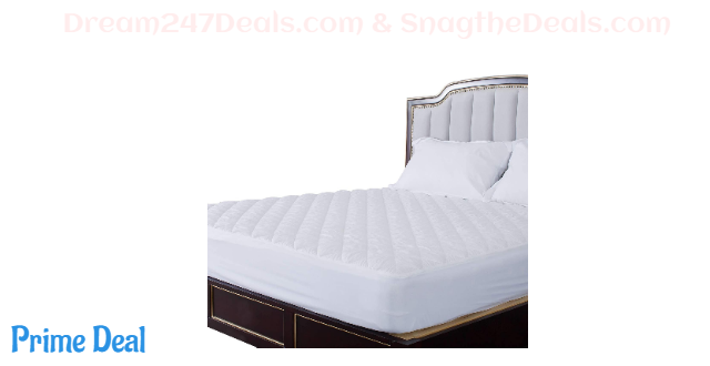 """60% OFF  HOS LINENS Waterproof Mattress Pads Cover Hypoallergenic Quilted TPU Laminated on Top Deep Pocket Up to 18"""" Cooling Mattress Topper"""
