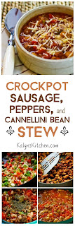 Crockpot Sausage, Peppers, and Cannellini Bean Stew with Parmesan found on KalynsKitchen.com
