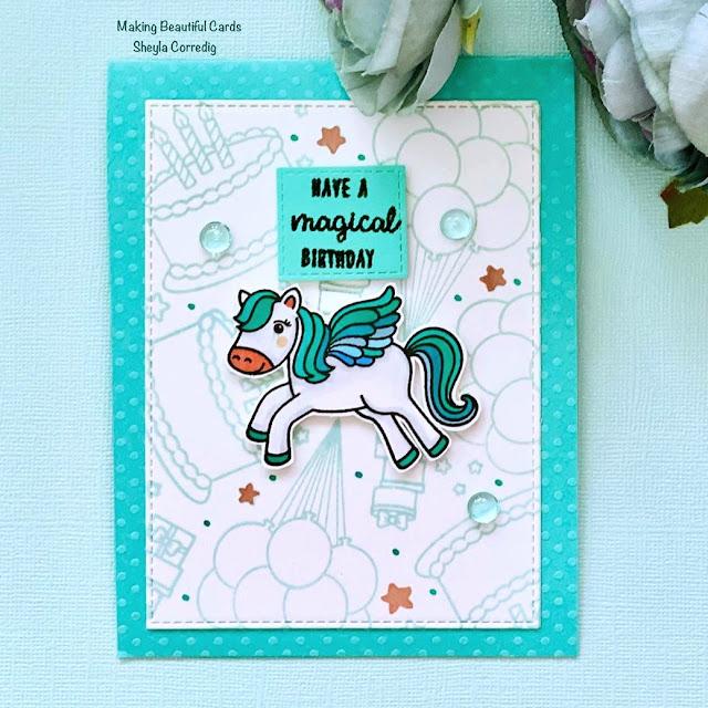 Sunny Studio Stamps: Make A Wish Floating By Prancing Pegasus Customer Card by Sheyla Corredig