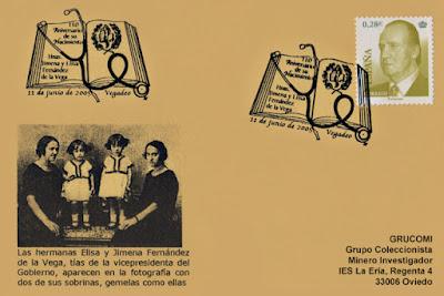 tarjeta, matasellos, Fernández de la Vega, Vegadeo