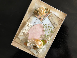 Hand Made Distressed Easter Card with Flowers, Lace and a Die Cut Rabbit