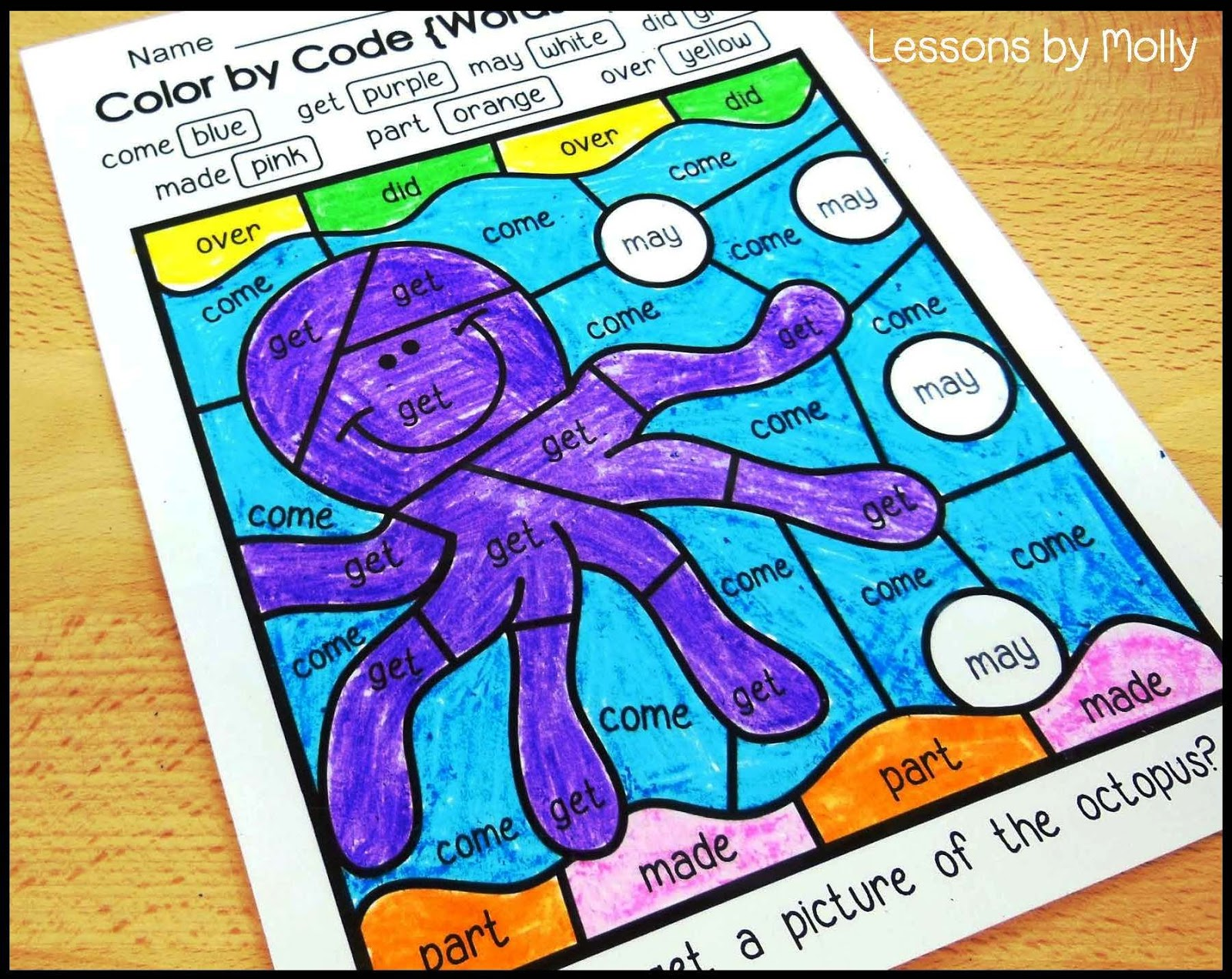 Lessons by Molly: Color by Code Sight Words for First and Second Grade