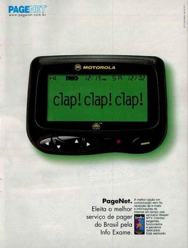 Propaganda de serviço de pager no Brasil veiculada em 1999