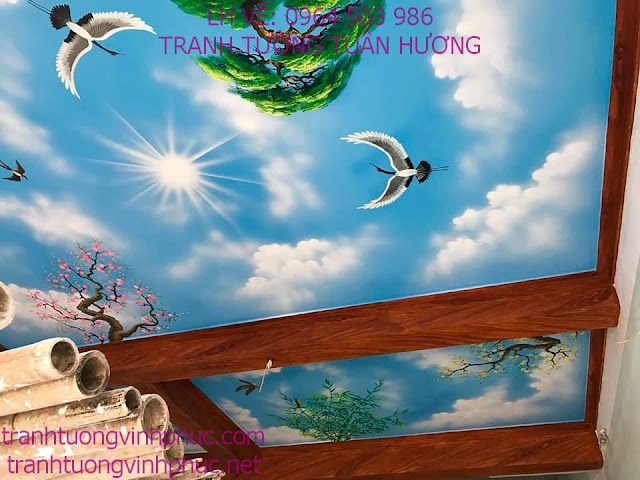 vẽ trần mây 3d tại vĩnh phượng bình xuyên vĩnh phúc5