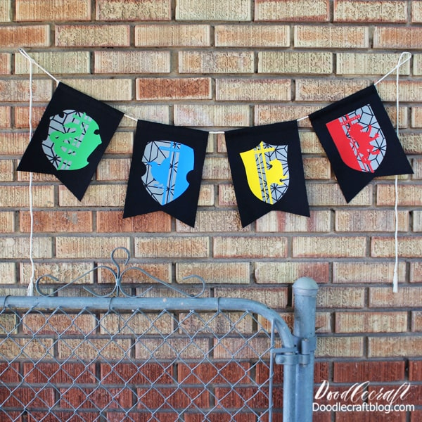 Which Hogwarts house will you be in this back-to-school season? I think I'm a Ravenclaw girl...but maybe because I like those colors best. Make this layered iron-on vinyl bunting with the Hogwarts house crests as the perfect backdrop for a party or Harry Potter themed classroom.