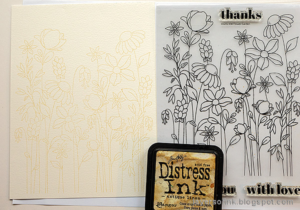 Layers of ink - Watercolor Floral Garden no-line coloring tutorial by Anna-Karin Evaldsson. Stamp with Distress Ink.