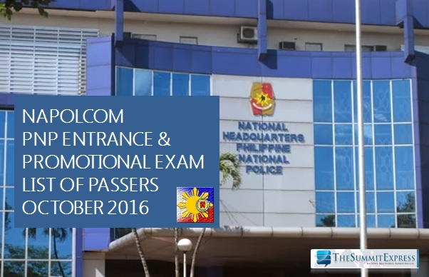 List of Passers: October 2016 NAPOLCOM exam results