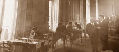 Aspecto de la sala de juego de la Semifinal Norte del Campeonato de España Individual (Santander 1961)