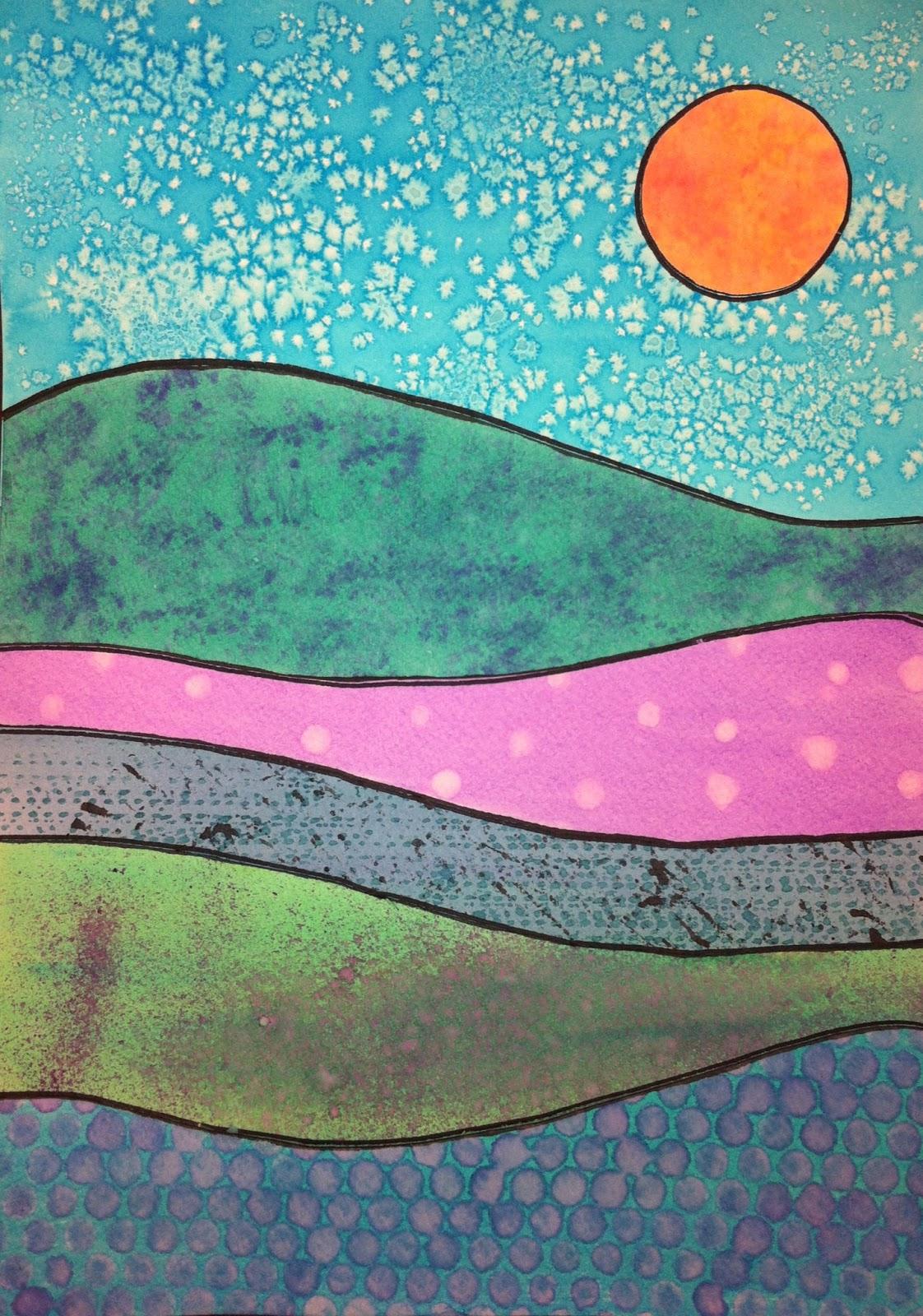 Watercolor technique landscapes kids art class