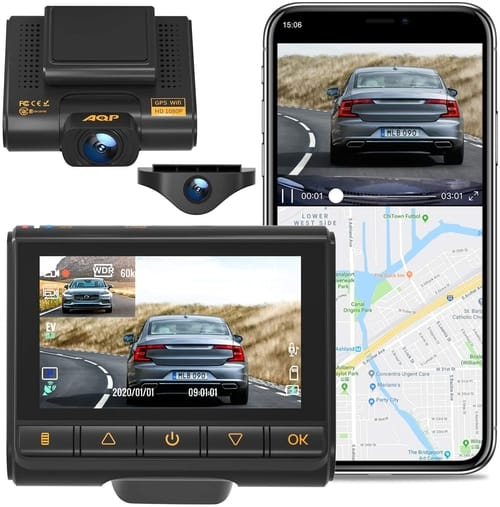 Review AQP Full HD 1080P Dual Dash Cam Camera for Cars