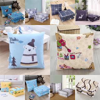 Balmut 2in1 Bantal Selimut Travelling Motif Karakter Bed Cover Lembut - Biru Muda