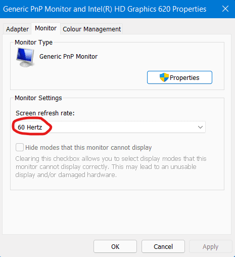 How to change the refresh rate on a monitor