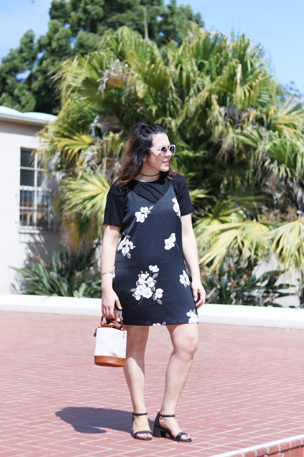 Dynamite floral slip dress outfit vancouver fashion blogger san diego le chateau sandals sunglasses ela bucket bag