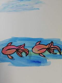 黒紙×アクリル絵の具で塗った紙の切り絵(濃い背景)